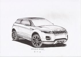 Land Rover Range Rover Evoque Ball point sketch by 09sazid