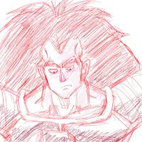Grumpy Raditz Doodle by Paradise-of-Darkness