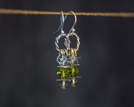 Petite Steampunk Earrings - Olivine Green Crystals by CrystalKittyCat