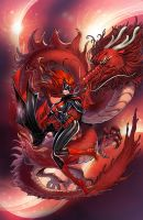 Batwoman with red dragon by daxiong