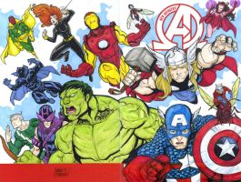 The Avengers sketch cover commission by mdavidct