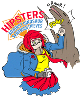 Hipster vs Raptor by darthmongoose