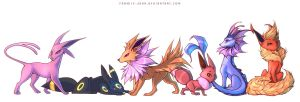 Eevee with Gen 1 and 2 Evolutions by francis-john