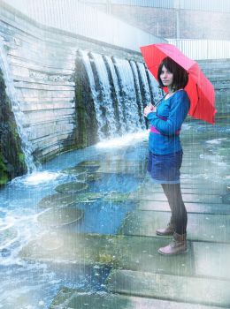 Cosplay - Rain at Waterfall by InnocentiaSanguinis