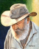 Old Man in Cowboy Hat by mbeckett
