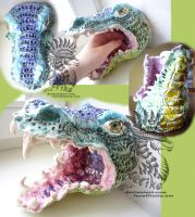 Ceramic clay crocodile dragon head by Drerika