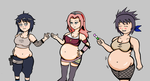 Chubby Naruto girls colored by ZeroConfidence