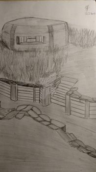 Worldwar 2 fortification with a trench by usernamedouble07
