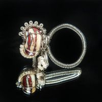 Lampwork Glass Bead Red Rock Labyrinth Ring by copperrein