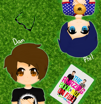 Dan and Phil lying on the grass by RMystery