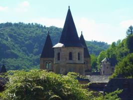 CONQUES ABBEY CHURCH AND THE CASTLE by isabelle13280