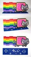 FOR SALE Perler Bead Nyan Cat with Stand by NerdyNoodleLabs