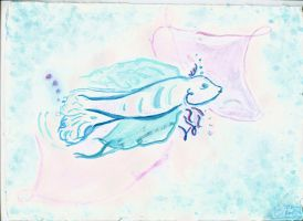 French Fish (turquoise version) by Francoise-Evelyne
