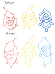Sketch: Spirit Trio -Before/After- by Fakemon-Niko