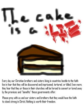 The cake is a LIE by MyBrokenRoseUnfold