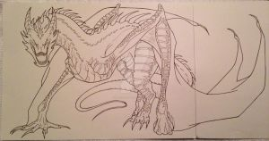 Smaug- (lines) by ArtisticCole