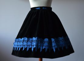 Lady Sariel Black velveteen skirt with blue lace by sarielowa