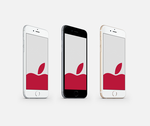 Apple (RED) Grey Wallpaper for iPhone 6 and 6 Plus by kiwimanjaro