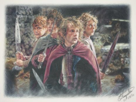 Lord Of The Rings - The Hobbits (Drawing) by Tokiiolicious
