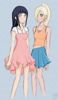 Hinata and Ino.:coloured:. by tyksa