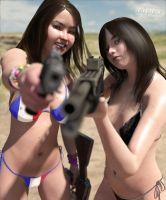 Playing with my girls, playing with their guns 2 by erogenesisCGI