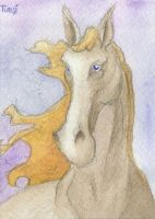 Watercolor Horse ATC by tursiart