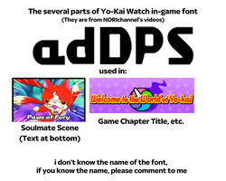 The several parts of Yo-Kai Watch in-game font by TK94732