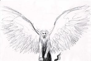 winged lion by Black-Hearted-Poet