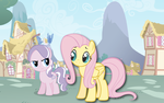 Diamond Tiara and Fluttershy: A Day In Ponyville by Customponiesandmore