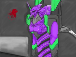 Evangelion Unit 01 Apple iPad painting by seetoyuxiang