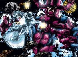 Silver Surfer and Galactus by MarcBourcier
