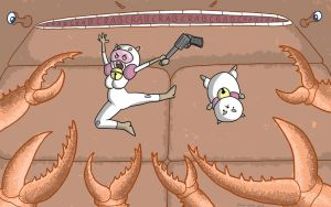 Commission: Bee and Puppycat Fight the Giant Crab by RomanJones