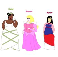 Thick Tiana, Aurora and Mulan by ColdHeartedCupid