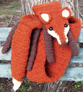 Fire Tweed Faux Fox Scarf, Chocolate accents by Arexandria