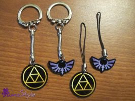Triforce and Hylia Crest Acrylic Charms by Sarinilli