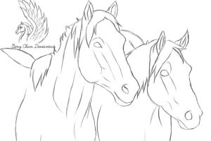 Horse Lineart 3 by Niny-Chan