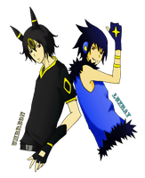 Ginjinka Umbreon and Luxray by Fabgen
