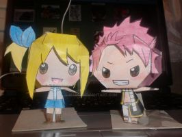 natsu and lucy paper craft by mar93