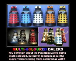 Doctor Who - Multi-coloured Daleks by DoctorWhoOne