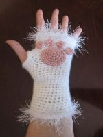 White Kitty Cat Paws Fingerless Gloves by PamGabriel