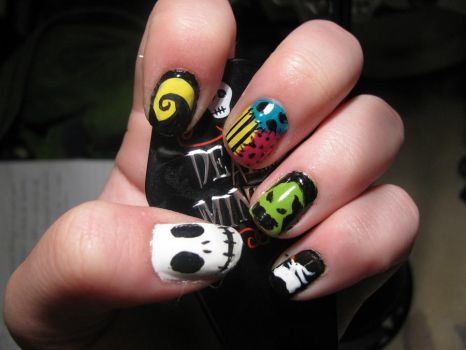 Nightmare Before Christmas Nails by WaterLily-Gems