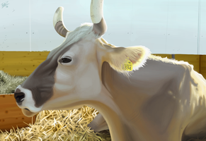 Swiss Cow Painting by thazumi