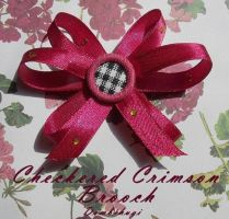Checkered Crimson Brooch by DombiHugi