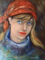 Girl With A Red Scarf by annalobello