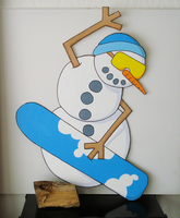 4ft Snowboarding Snowman by moopf