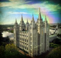 Salt Lake Temple Rainbow Windo by houstonryan