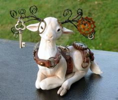 Steampunk White Stag by MysticReflections