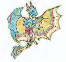 Pointillism Winter Magi Dragon by WakaLaka123