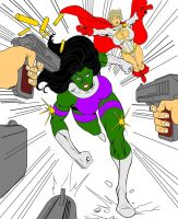 She-Hulk and Power Girl (Colored) by Dairugger