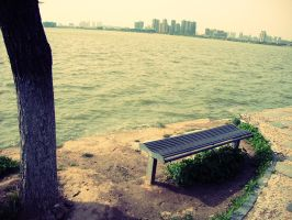 Bench by the lake by Laura-in-china